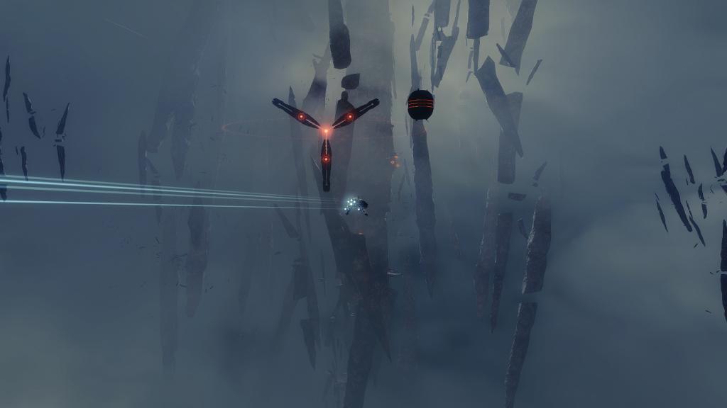 A Punisher-class Frigate approaching a Triglavian Biocombinative Cache and Transfer Conduit.